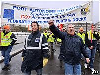 Protesta de trabajadores franceses,  AFP