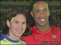 Barcelona's Lionel Messi (left) and Ronaldinho
