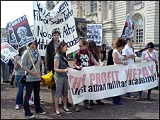 Protesters against St Athan military academy