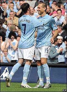 Manchester City's Stephen Ireland celebrates