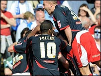 Stoke celebrate scoring at Colchester