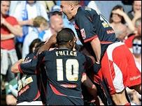 Stoke celebrate scoring at Colchester