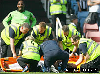 Ljungberg was stretchered off against Newcastle