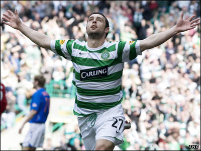 McDonald wheels around to celebrate opening the scoring for Celtic with his first ever Old Firm goal