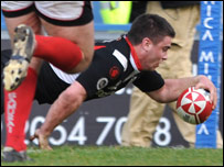Gareth McCarthy crosses for Pontypridd's second try in their win over Aberavon