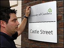 Cumbria University sign
