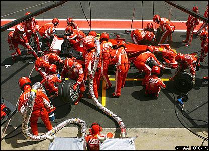 Massa is the first Ferrari to pit