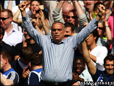 Chelsea manager Avram Grant celebrates victory over Manchester United in London, UK on 26 April, 2008