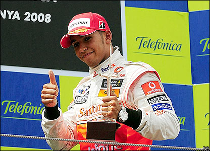 Hamilton enjoys his first podium finish since his win in the opening race
