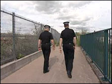 Police searching cycle path area