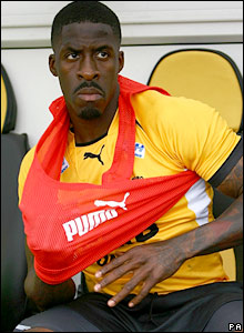 Dwain Chambers takes his place on the replacements' bench