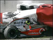 Heikki Kovalainen's McLaren after his crash at the Spanish Grand Prix
