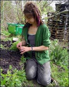 Community member gardening