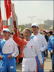 Former footballer Pak Do-ik in Pyongyang, 28/04