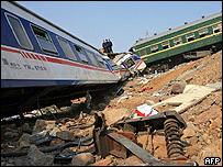 Imagen de los trenes luego del choque