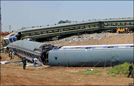 Wreckage of two trains which collided in Shandong province