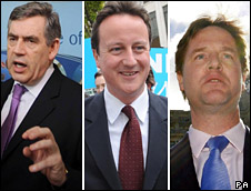 Gordon Brown, David Cameron, Nick Clegg