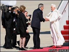 The Pope greeted by George Bush as he arrives in Washington DC