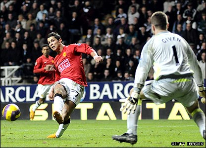 Cristiano Ronaldo scores his first of three goals in United's 6-0 thrashing of Newcastle