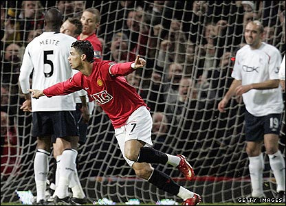 Cristiano Ronaldo wheels away in delight after scoring for United in the 2-0 win against Bolton