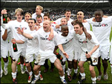 Swansea team promotion celebrations