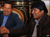 Evo Morales y hugo Chávez