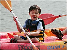 Boy in a kayak in Singapore