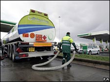 Petrol tanker refilling at a BP forecourt on the M8 at Harthill