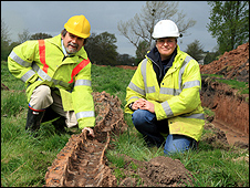 County archaeologist Keith Ray, left, with Kath Crooks, from Archaeological Investigations, with the tank track