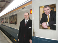 Andy Hamilton of the train company and Ieuan Wyn Jones