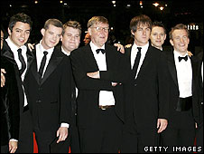 Alan Bennett (centre) and History Boys film cast