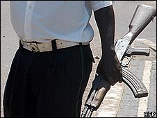 A policeman on a street of Mozambique's capital, Maputo, during February's protests over bus fares