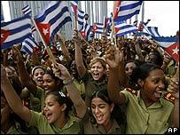 Cadetes militares cubanos celebran aniversario de fundación de Juventud Comunista.