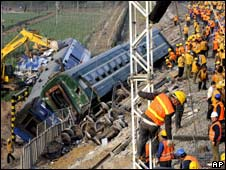 Railway workers at the site of the crash on 28 April 2008
