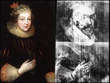 Portrait of Elizabeth Vernon (left) and image of Henry Wriothesley (right)