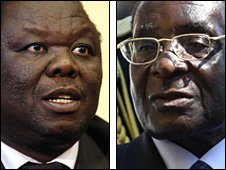 Morgan Tsvangirai (L) and Robert Mugabe