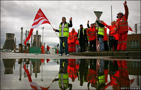 Picket line outside Grangemouth