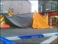 Police tent at the junction of West Richmond Street and Nicolson Street (Pic: Brian Innes)