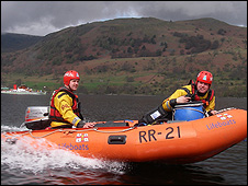 Lifeboat in flood rescue exercise
