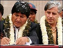 Evo Morales y Alvaro García