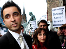Aamer Anwar with supporters