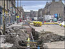 Leith Walk tram works