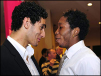 Marouane Fellaini (L) and Dieumerci Mbokani (R)