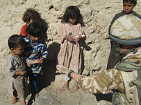 British soldier with Afghan children