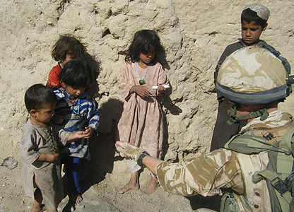 Troops from 2 Para with Afghan children