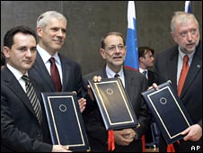 Serbian Deputy PM Bozidar Gelic, Serbian President Boris Tadic, EU foreign policy chief Javier Solana and Slovenian Foreign Minister Dimitrij Rupel
