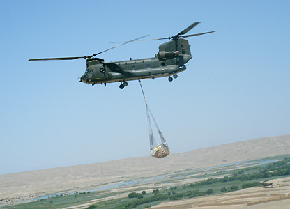 Supplies brought into FOB Robinson by Chinook