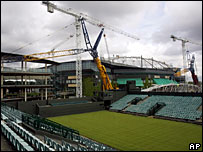 Works continue at Wimbledon ahead of the start on 23 June