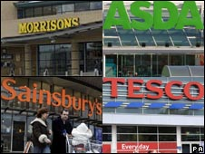 Morrisons, Asda, Sainsbury's and Tesco stores