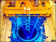Fuel rods being loaded into a nuclear power station's reactor core (SPL)